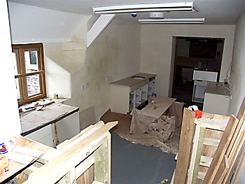 The new kitchen, being fitted out