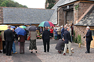Some of the guests - with brollies!